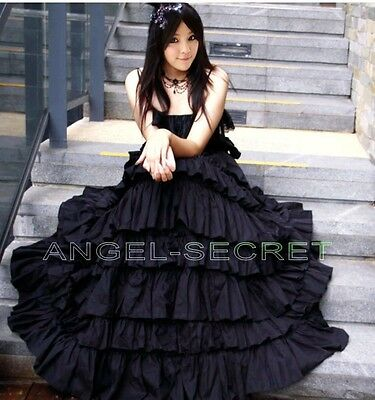 J20 Lolita vampire gothic victorian long black tiered layered halter dress tube