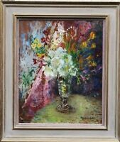 PAULINE GLASS 1908-1992 BRITISH ART OIL PAINTING FLORAL STILL LIFE FLOWERS VASE
