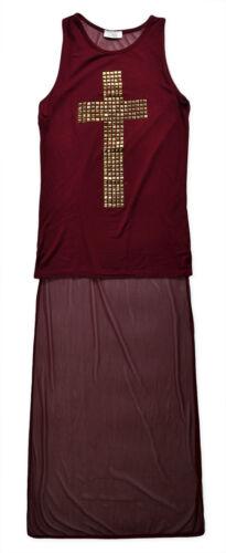 Ladies Vest Top New Womens Long Line Cross Slogan T Shirt Tops UK 8 10 12 14