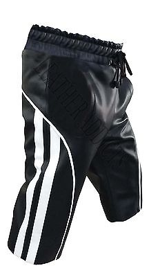 Mens Sexy Real Black Leather Cargo Shorts in colors  - SHORTS4
