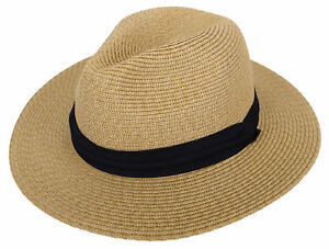 31324ea9a8a Womens UPF50 Foldable Summer Straw Panama Hat Wide Brim Fedora Beach ...