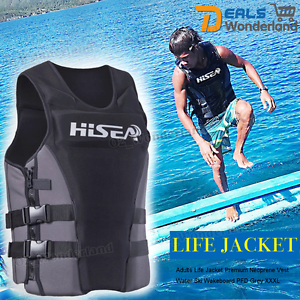 Adults-Life-Jacket-Premium-Neoprene-Vest-Water-Ski-Wakeboard-PFD-Grey-XS-XXXL