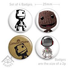 """Little BIG Planet SACKBOY PS3 1"""" Badges x4- Badge Set 1"""