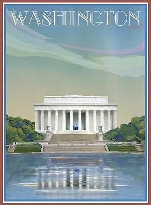 Washington Monument DC-Vintage Art Deco Style Poster-by Aurelio Grisanty