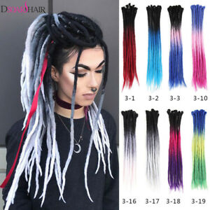 Details about Ombre 100% Handmade Dreadlocks Hair Extensions Synthetic Punk  Locs Girls Dreads