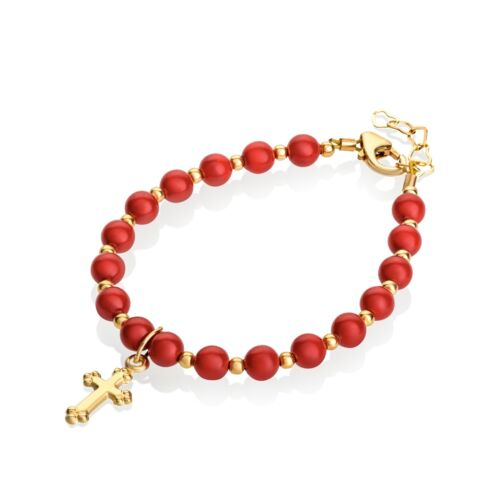 Red Coral Swarovski Pearls w/ 14KT Gold Filled Mini Beads & Cross Charm Bracelet