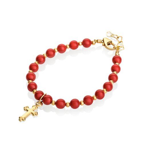 Red Coral Swarovski Pearls w/ 14KT Gold Filled Mini Beads & Cross Charm Bracelet