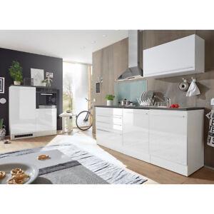 Küchenblock Jazz 4 Küche Küchenzeile Einbauküche weiß matt Hochglanz ...