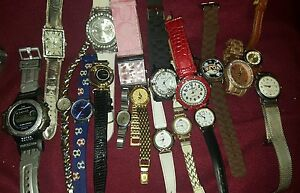 Lot-if-18-Vintage-Modern-brand-Watch-Watches-Parts-Repair-Wearable-most-work