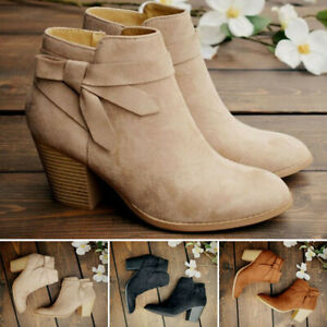 Women-Suede-Booties-Low-Heel-Block-Ankle-Boots-Chunky-Round-Toe-Zip-Shoes-Size