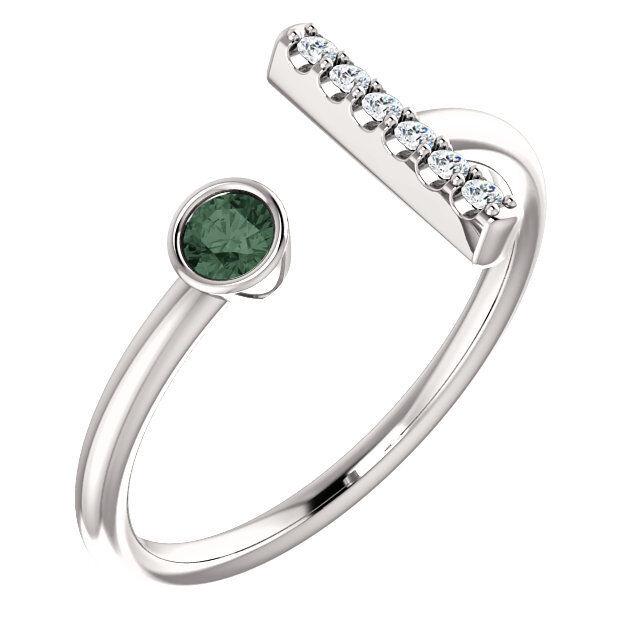 Genuine Alexandrite & .05 CTW Diamond Bar Ring In Platinum