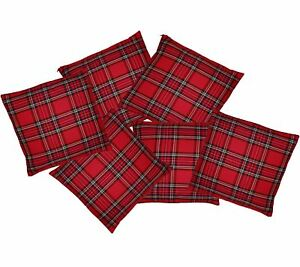 6-Pack-Red-Tartan-16-034-x-16-034-Cushion-Covers-Burns-Night-Scottish-Home-Decor