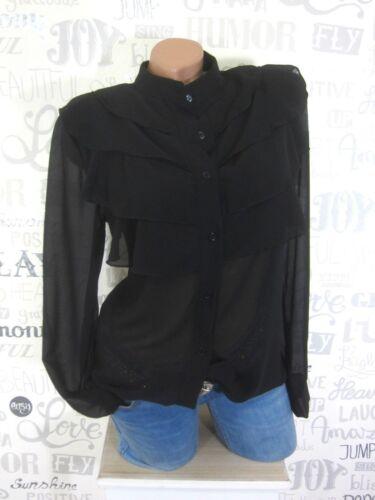 Damen ITALY Chiffon Bluse Tunika Shirt Hemd Volant Gr 36 38 40 Schwarz E27