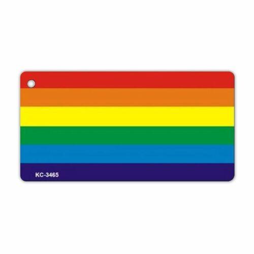 """Keychain Gay LGBTQ+ Metal 3/"""" x 1.5/"""" Key Chain w//Keyring LGBT Rainbow Flag"""