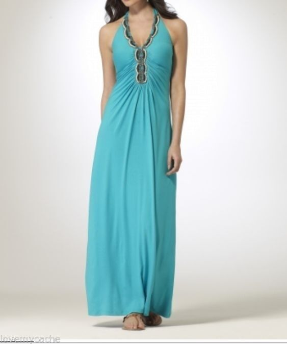 NWT CACHE CACHE CACHE Turquoise bluee Maxi -Stretch Lined Sexy Long Summer Dress   M  6-8 e9341c