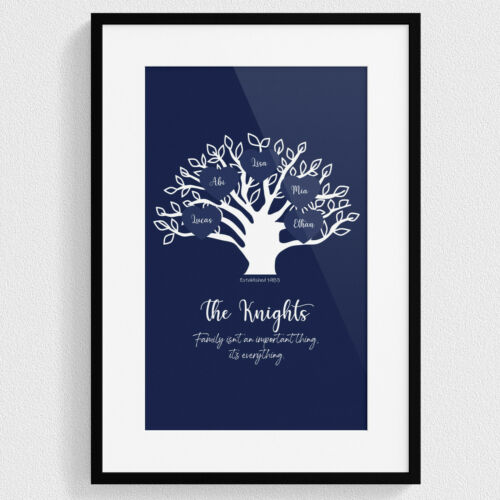 Personalised Family Tree Print Wall Art Framed Ancestry Home Anniversary Him Her