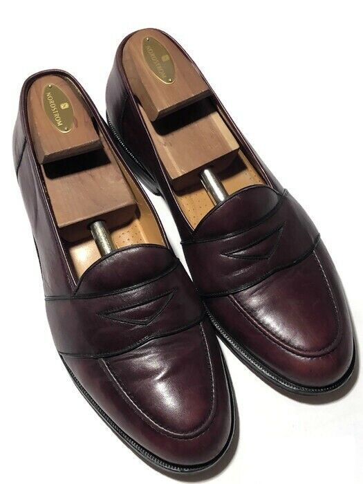 Massimo Emporio Men's Burgundy Leather Penny Loafer Slip On Loafers - Size 10 M