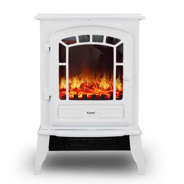Econo ® blanc 2000 W Log Burning Effet électrique feu Poêle Chauffage Cheminée