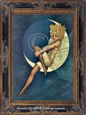 Art Deco BLONDE GIRL MOON Lingerie Silk Stockings Glamorous Vintage ART PRINT
