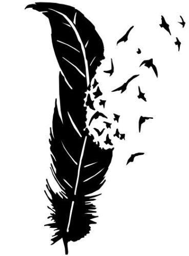 Girly sticker graphics petrol cap car bumper boot tattoo Feather Birds