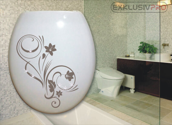 swarovski strass blumen wc deckel toiletten aufkleber tattoo ornament bad klo 07 ebay. Black Bedroom Furniture Sets. Home Design Ideas