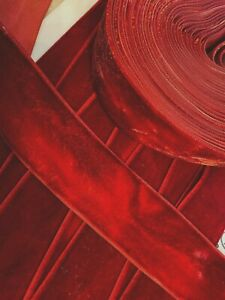 Vintage-1-5-034-Velvet-Ribbon-Rayon-Oxblood-Red-Shaded-1yd-Made-in-France