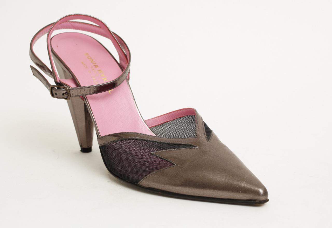 SONIA RYKIEL Metallic Pointed-Toe Ankle-Strap Pumps High Heels Mesh Panels 9-39
