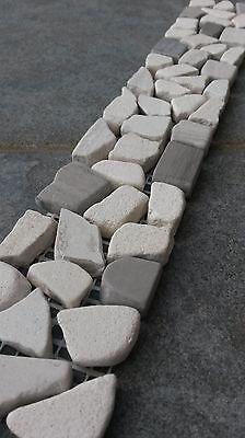Bruchstein Mosaik Bordüre 5x30 Naturstein Fliesen Yawood Grau//Creme Beige B034
