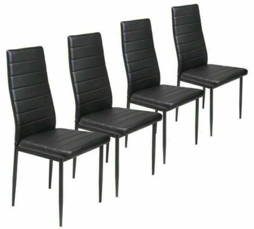 4 x Faux Leather High Back Dining Chairs Set Black Metal Leg Padded Seat Kitchen Black,White