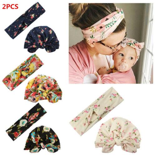 UK 2Pcs Women Mother Baby Child Warm Twist Knot Turban Cap Cotton Beanie Hat Cap