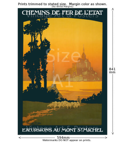 Mont St Michel French Railways Travel Poster 6 sizes, matte+glossy avail