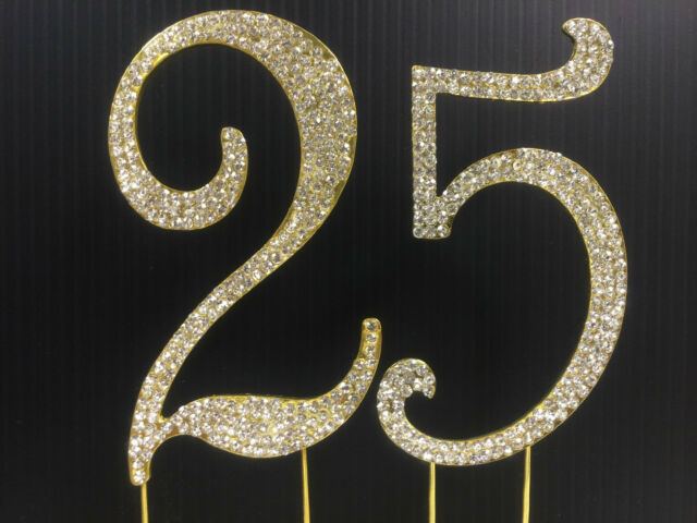 Gold Rhinestone Number 25 Cake Topper 25th Birthday Party