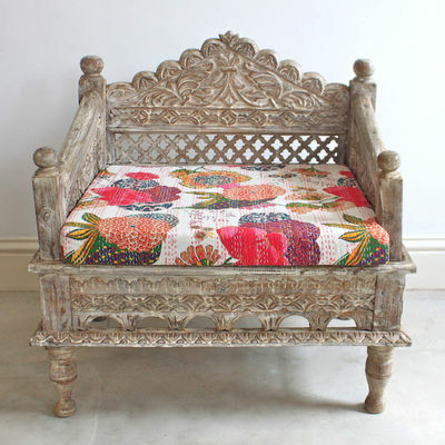 MADE TO ORDER Hand Carved Daybed mattress Balinese Day bed Rustic Brown Sofa