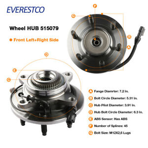 Set(2) Wheel Hub Bearing Assembly Front For 2005-2008 Ford F-150 w/ ABS 4WD 4x4 612292114213