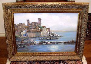 Large-3ftx4ft-Original-ANTIBES-Mediterranean-Seascape-Oil-Painting-JOE-SAMBATARO