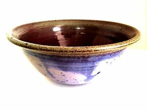 Art-Pottery-Bowl-Signed-Tibor-C-Hajagos-Dated-91-Lilac-Rusty-Red-9-in-Diameter