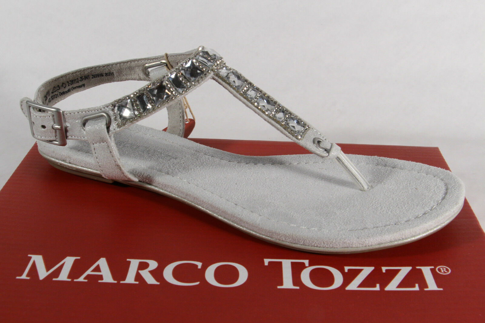 Marco Tozzi Thong Flip-Flops Sandals Sneakers Silver Grey New