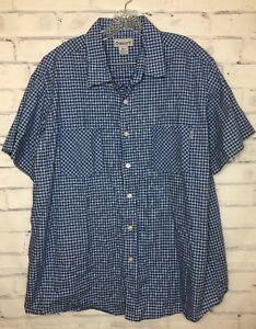 Men-039-s-2XL-Carhartt-Blue-White-Plaid-Button-Down-Shirt-Short-Sleeve-Cotton