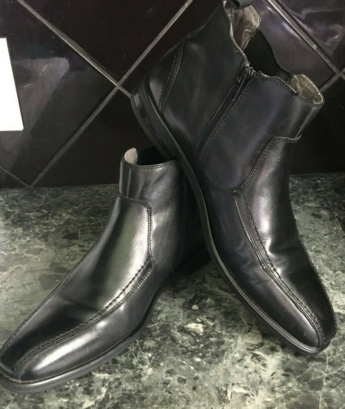 Men's NEW Julius Marlow Devise 8 Corporate Work Black Leather Pull Up Zip Boots