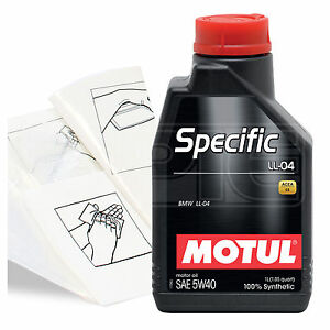Engine Oil Top Up 1 LITRE Motul Specific BMW LL-04 5w-40 1L +Gloves,Wipes,Funnel