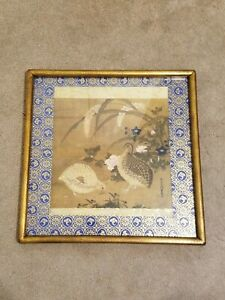 VINTAGE TOSA MITSUOKI HIGH QUALITY FRAMED & MATTED ART PRINT. QUAILS & FLOWERS.