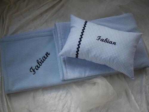 Kuscheldecke mit Namen zur Geburt//Taufe Wolldecke individuell blau Babydecke