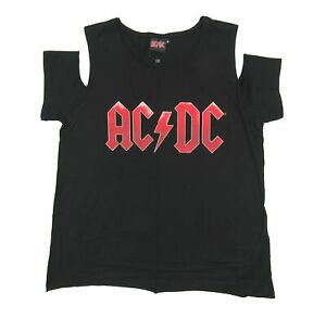 AC-DC-Red-Logo-Cold-Shoulder-Ladies-Womens-Black-T-Shirt-New-Official-Merch