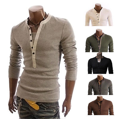 Fahsion T-Shirt Men Button Front Long Sleeve V-neck Solid Casual Slim Fit Tops