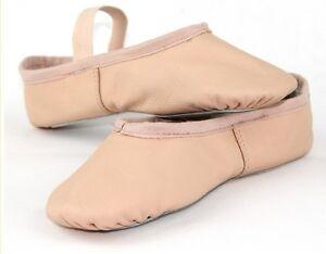 Venta Rosa Cuero Completo Suela Zapatos De Ballet Zapatillas De Baile Con Elásticos Melocotón Nuevo