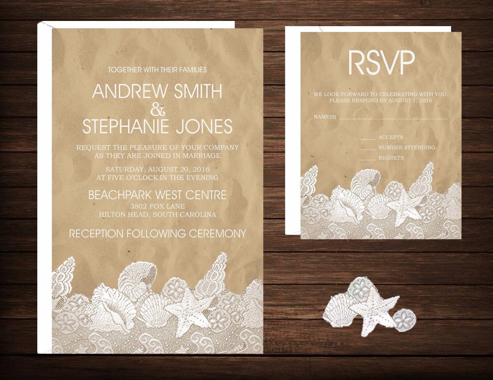 Wedding Invitations Beach Desitnation Beach & Lace 50 Invitations & RSVP Cards