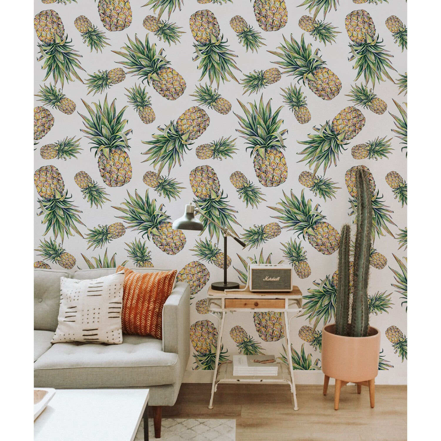 Pineapple removable wallpaper Modern Fruits Exotic Tropical Wall Mural