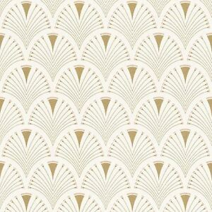 Details about MODERN ART DECO FAN WALLPAPER GOLD / PINK , RASCH 433227