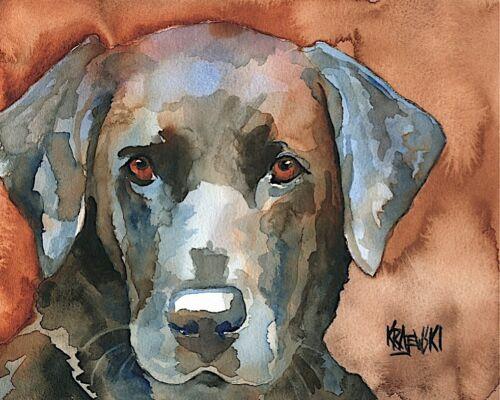 Labrador Retriever Art Print Signed Artist Ron Krajewski Painting 8x10 Black Lab