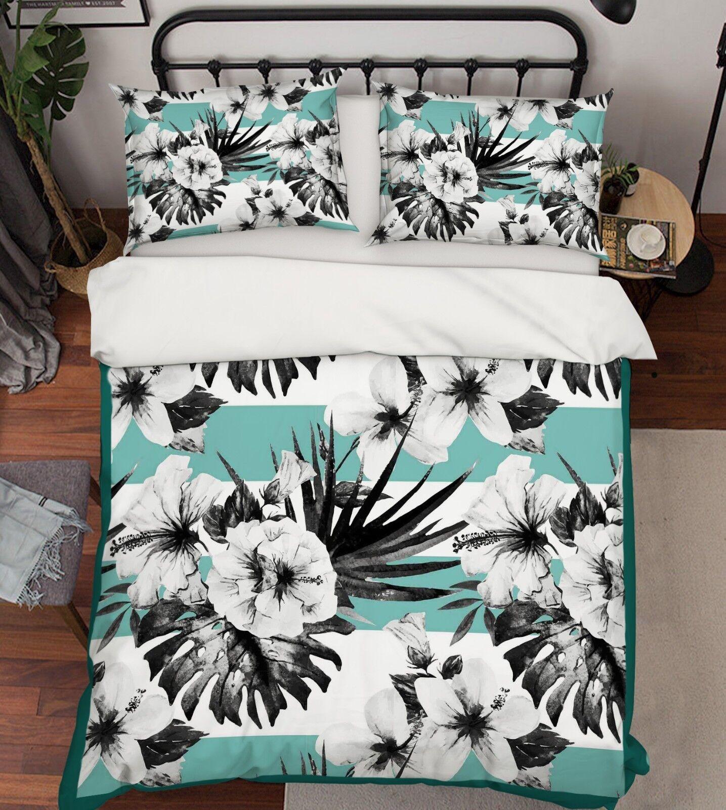 3D White Flower 418 Bed Pillowcases Quilt Duvet Cover Set Single Queen King AU